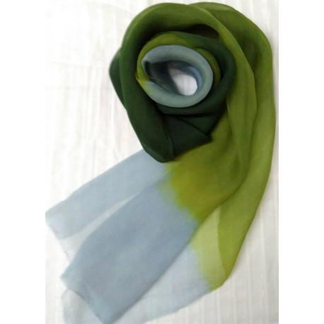 生蠶絲七里香馬藍染圍巾_文創藝術品